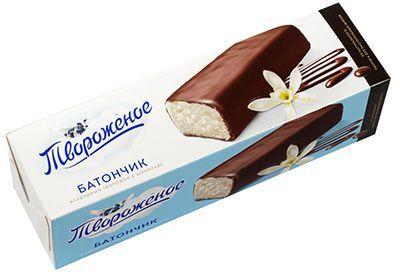 Батончик творожный 15% жир., 50г сырок с ароматом пломбира, глазированный шоколадом