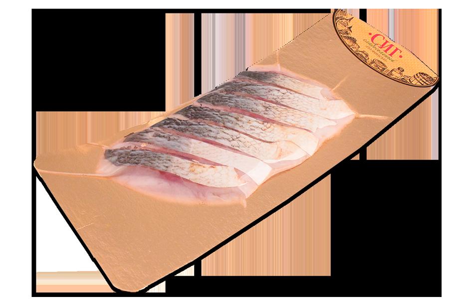 Сиг слабосоленый 250г кусок нарезанный на коже