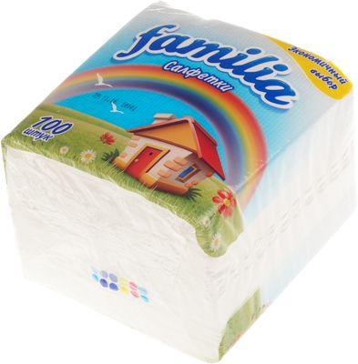 Салфетки Белые FAMILIA, 1-слойные, 24x23 см, 100шт