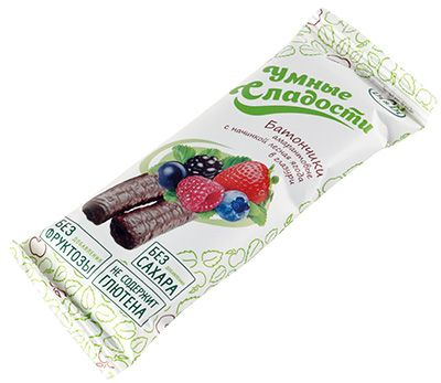 Батончик амарантовый с лесной ягодой 20г без глютена, без сахара и фруктозы, Умные сладости