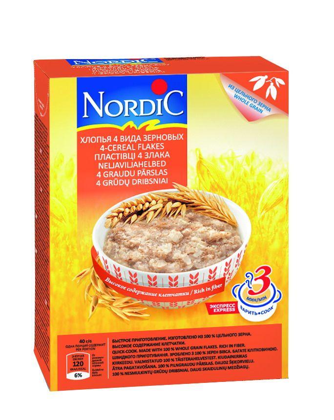 Хлопья 4 вида зерновых, 600г NORDIC, Финляндия