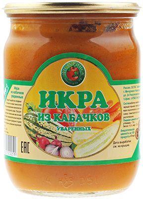 Кабачковая икра 530г 100% натуральный продукт, Мичуринский