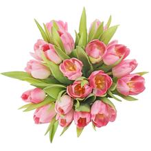 Тюльпаны розовые в шляпной коробке L ~21шт