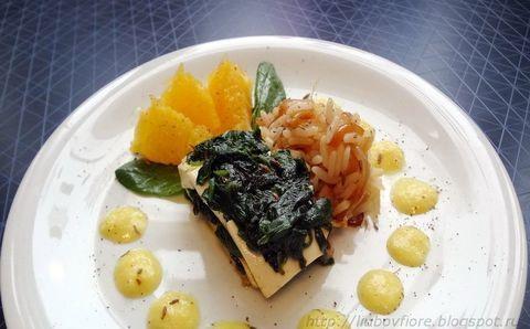 Мильфёй из тофу и шпината