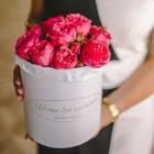Розы кустовые Пинк Пиано в шляпной коробке L ~15шт