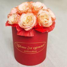 Букет розы Кахала в шляпной коробке