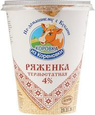 Ряженка Коровка из Кореновки 4% жир., 350г