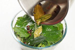 Закрыть огурчики веточками укропа и оставшимися листьями. Залить рассолом.