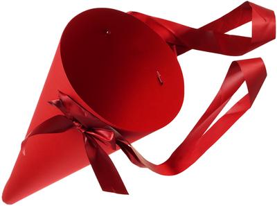 Конверт-конус с лентами для цветов Бордовый