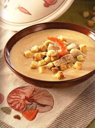 Крем-суп из рыбы с креветками