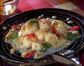 Морской гребешок в сливочно-сырном соусе