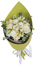 Букет №41 Розы Гратено, лизиантусы и фрезии