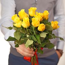 Роза мини желтая 30см упаковка10шт