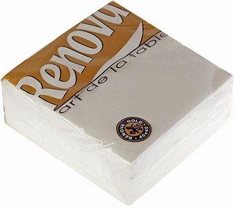 Салфетка бумажные белые 2-слойные, 40х40см