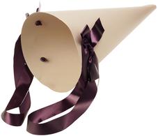 Конверт-конус с лентами для цветов Бежевый