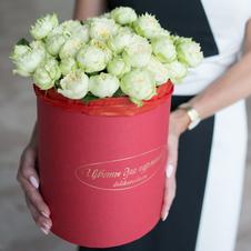 Розы кустовые Бланшет в шляпной коробке XL ~19шт