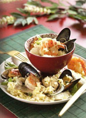 Ризотто с пряной зеленью и морепродуктами