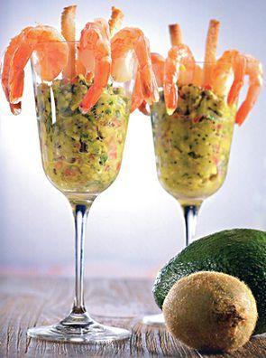 """Креветочный коктейль с гуакамоле """"Киви дайкири"""""""