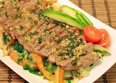 Говядина  гриль с овощами
