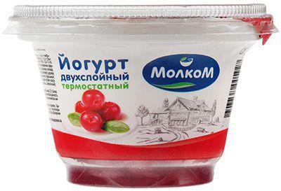 Йогурт термостатный Брусника-клюква 3,3% жир., 140г  РАСПРОДАЖА