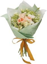 Букет №13 Розы Джульетта, Гратено Тембо и Лизиантусы