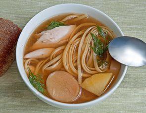 Суп из кролика с белыми грибами и лингвини