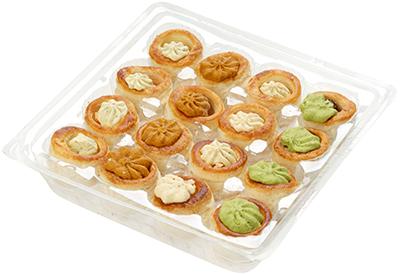 Мини-тарталетки с креветкой, гребешком, лососем и улиткой 170г