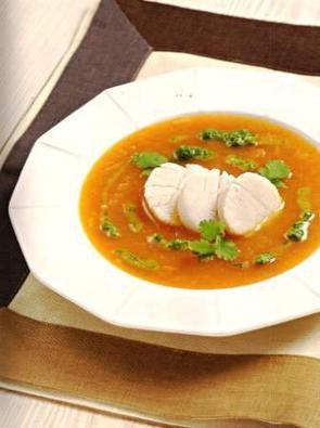 Тыквенный суп с гребешками