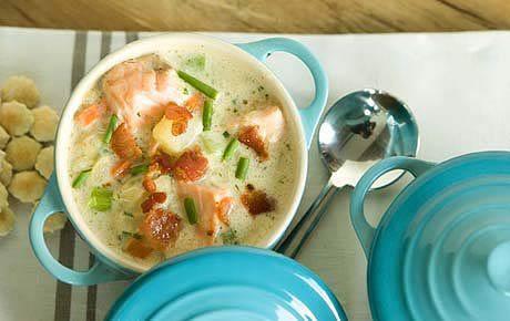Сливочный суп с форелью по-норвежски