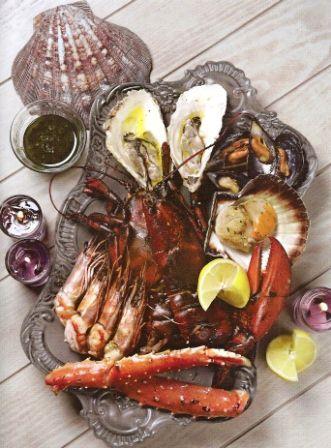 Микс из морепродуктов на барбекю