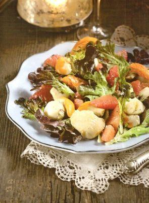 Грейпфрутовый салат с морскими гребешками