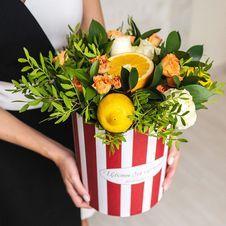 Букет №86 Солнечная апельсинка в шляпной коробке