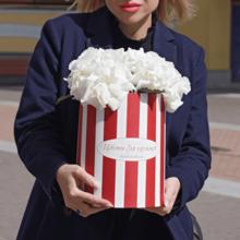 Гортензии белые в шляпной коробке XL 3шт