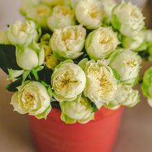 Розы кустовые Бланшет в шляпной коробке L ~9шт
