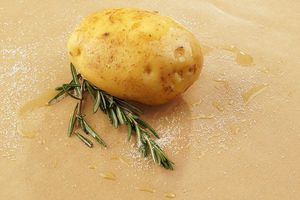 Картофель промойте, выложите на смазанный смесью оливкового масла и соли пергамент. Рядом положите веточку розмарина.