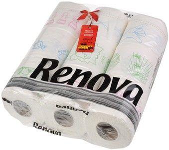 Туалетная бумага Renova белая с рисунком