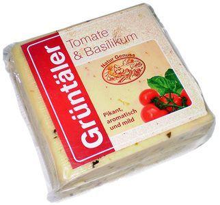 Сыр Грюнтайлер с томатом и базиликом ~ 300г