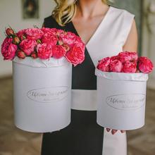 Розы Пинк Пиано в шляпной коробке L ~15шт