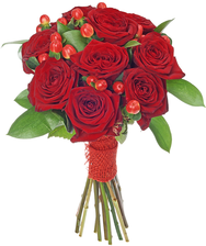 Букет №1 Розы Ред Наоми и Гиперикум
