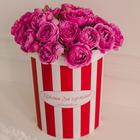 Розы кустовые Мисти Баблс в шляпной коробке L ~15шт