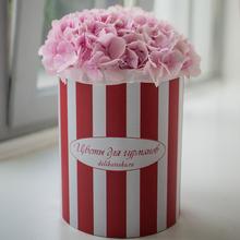 Гортензии розовые в шляпной коробке XL 3шт