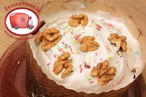 Смазать охлажденный кулич глазурью, украсить кондитерской посыпкой, орешками.