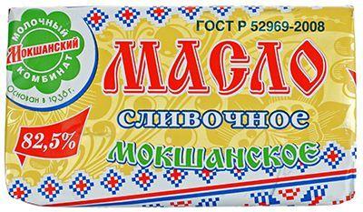 Масло Мокшанское 82,5% жир., 185г сливочное, несоленое , ГОСТ