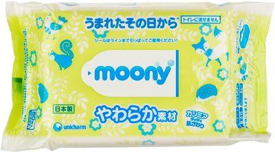 Влажные салфетки MOONY для детей запасной блок 80 шт, Япония