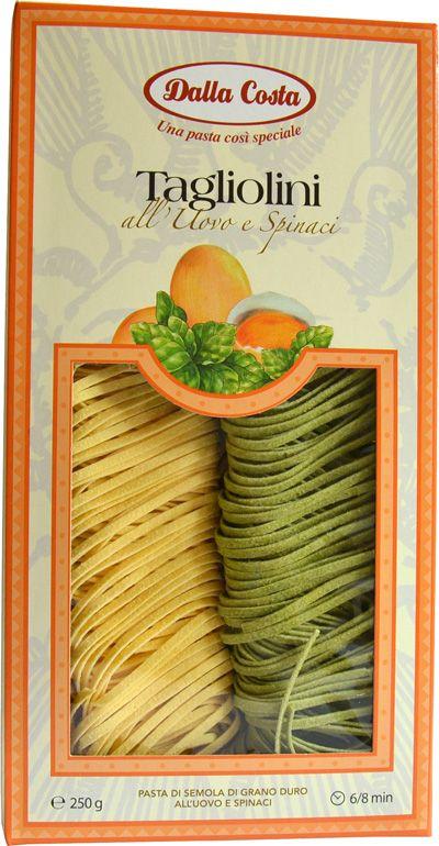 Тальолини с яйцом и шпинатом, 250г макароны, Dalla Costa