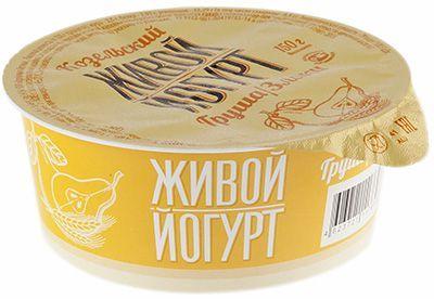 Йогурт живой груша-злаки 2,5% жир., 150г Козельский МЗ, 10 суток