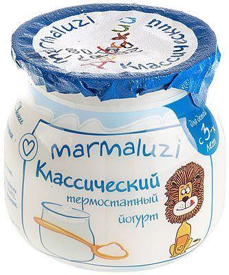Йогурт термостатный Мармалузи 2,5% жир., 125г для питания детей дошкольного и школьного возраста, 14 суток