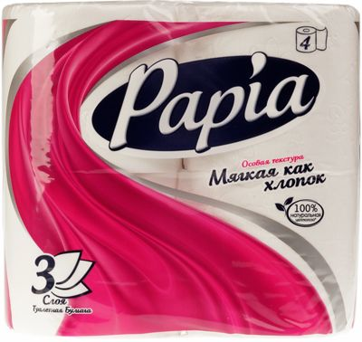 Туалетная бумага белая PAPIA, 4шт, 3-слойная