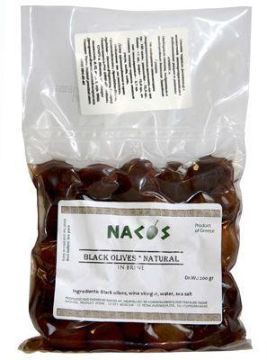 Оливки черные с косточкой 200г бочковой рассол, Nacos