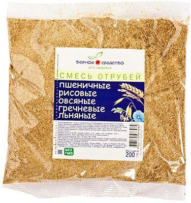 """Смесь отрубей """"Верное средство"""" 200г пшеничные, рисовые, овсяные, гречневые, льняные"""